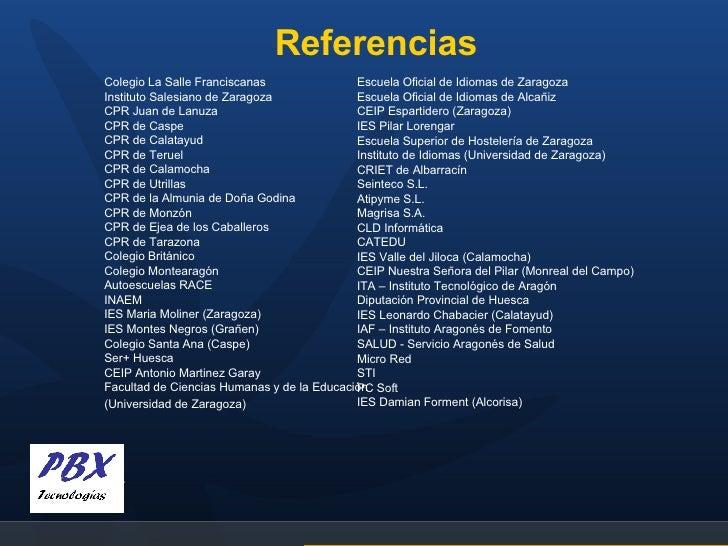Referencias Colegio La Salle Franciscanas Instituto Salesiano de Zaragoza CPR Juan de Lanuza CPR de Caspe CPR de Calatayud...