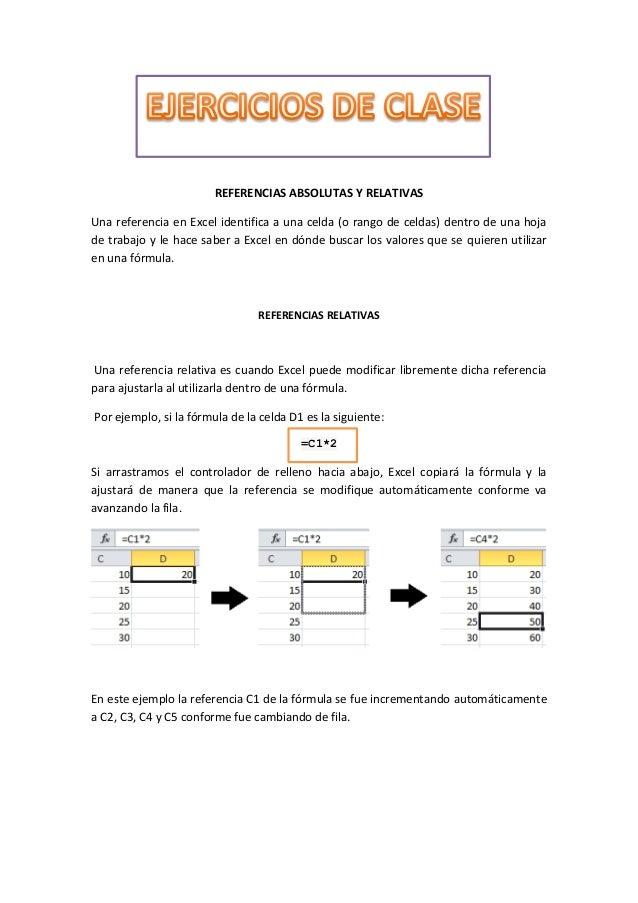 REFERENCIAS ABSOLUTAS Y RELATIVAS Una referencia en Excel identifica a una celda (o rango de celdas) dentro de una hoja de...