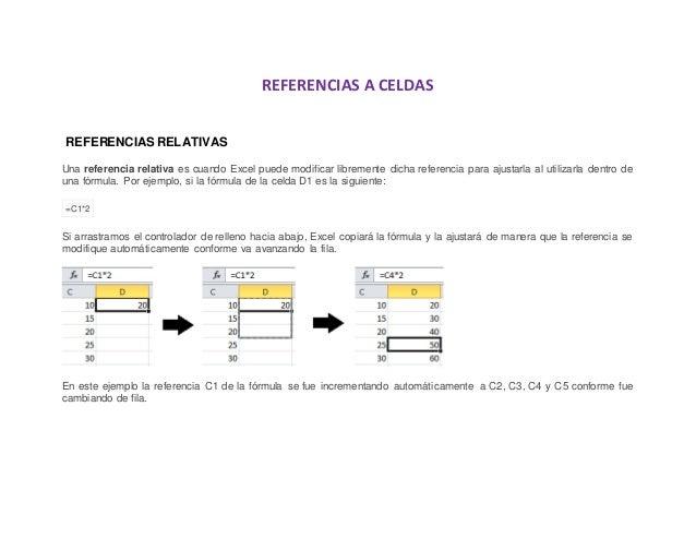 REFERENCIAS A CELDAS REFERENCIAS RELATIVAS Una referencia relativa es cuando Excel puede modificar libremente dicha refere...