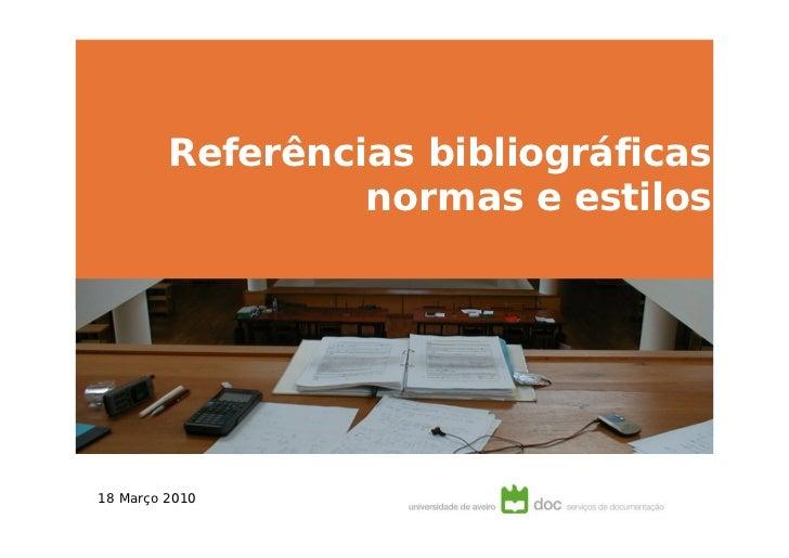 Referências bibliográficas normas e estilos