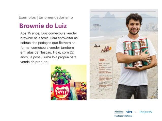Brownie do Luiz Exemplos | Empreendedorismo Aos 15 anos, Luiz começou a vender brownie na escola. Para aproveitar as sobra...