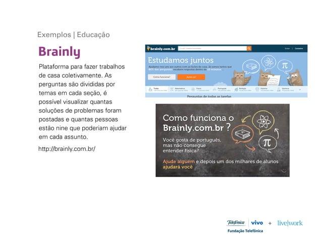 Brainly Exemplos | Educação Plataforma para fazer trabalhos de casa coletivamente. As perguntas são divididas por temas em...