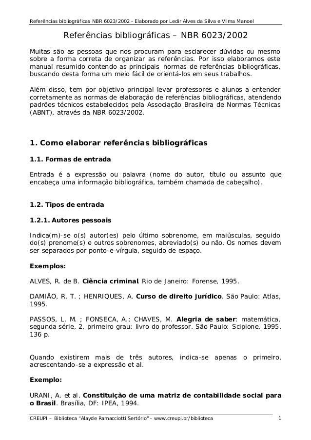"""Referências bibliográficas NBR 6023/2002 - Elaborado por Ledir Alves da Silva e Vilma Manoel CREUPI – Biblioteca """"Alayde R..."""
