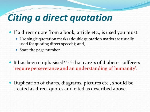 Referencing citation citing a direct quotation ccuart Images