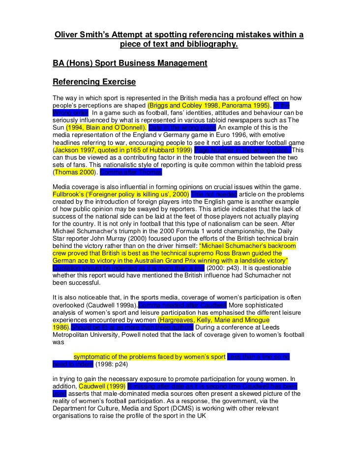Oliver Smith's Attempt at spotting referencing mistakes within a                 piece of text and bibliography.BA (Hons) ...
