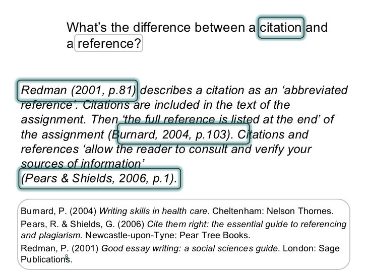 Differentiate between paraphrasing and citation