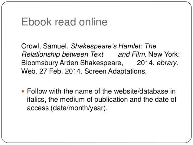 Citaten Shakespeare Hamlet : Mla referencing