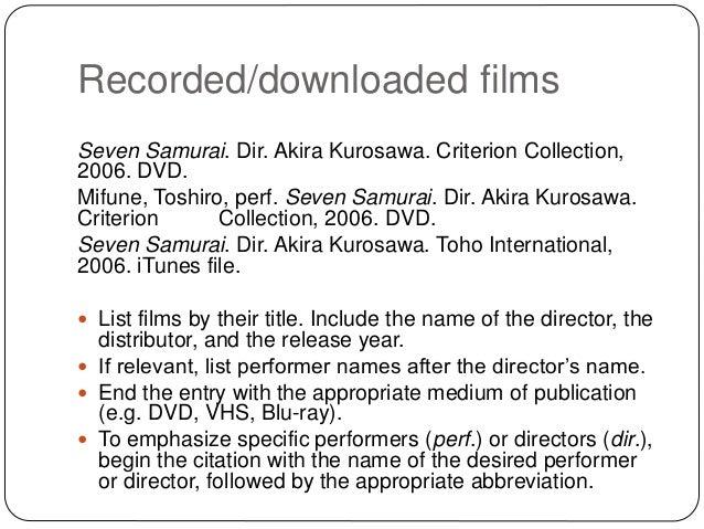 mla citations for films