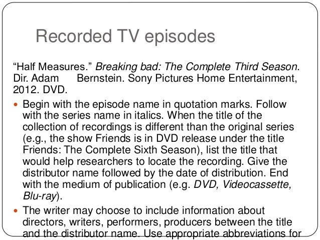 referencing tv shows in an essay Referencing an online television programme 17 referencing  cite the author  of the chapter in your essay text (not the editor of the book) in this case, willats.