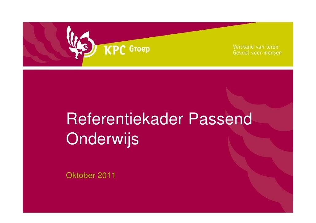 Referentiekader PassendOnderwijsOktober 2011