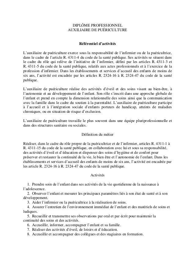 DIPLÔME PROFESSIONNEL AUXILIAIRE DE PUÉRICULTURE Référentiel d'activités L'auxiliaire de puériculture exerce sous la respo...