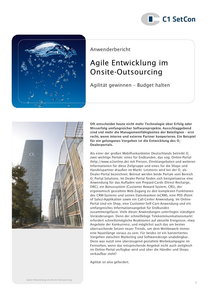 Anwenderbericht                                          Agile Entwicklung im                                          Ons...