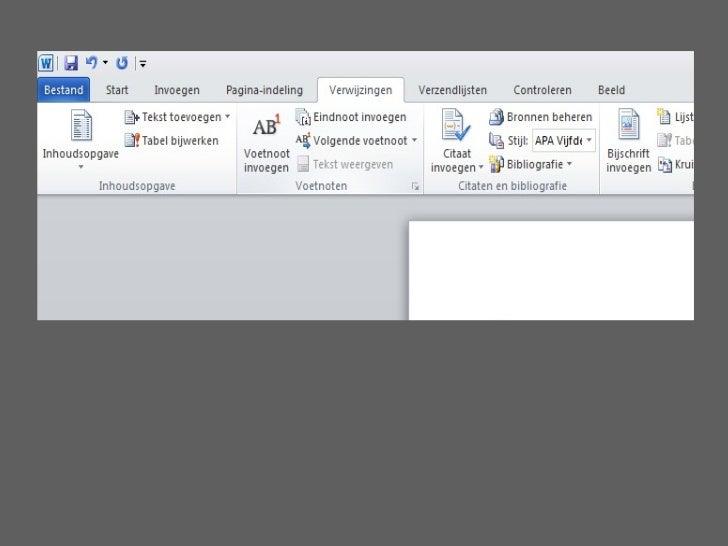Citaten Weergeven Word : Refereren2012 2013