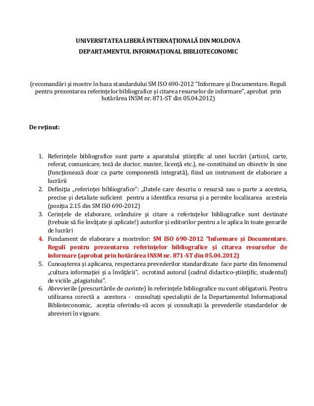 UNIVERSITATEA LIBERĂ INTERNAŢIONALĂ DIN MOLDOVA DEPARTAMENTUL INFORMAŢIONAL BIBLIOTECONOMIC (recomandări şi mostre în baza...
