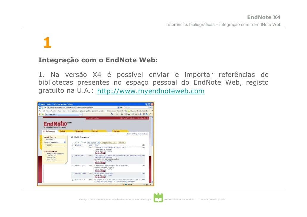 EndNote X4                                                                          referências bibliográficas – integraçã...