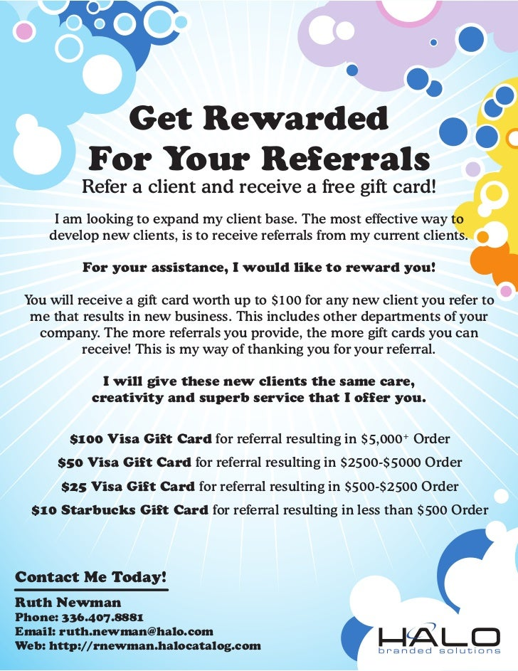 Referral flyer gift card for Refer a friend email template
