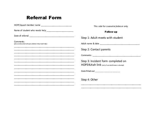 referral form hope squad member name - Referral Form