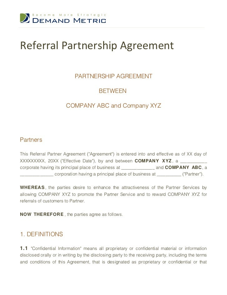 Referral Partnership Agreement                            PARTNERSHIP AGREEMENT                                         BE...