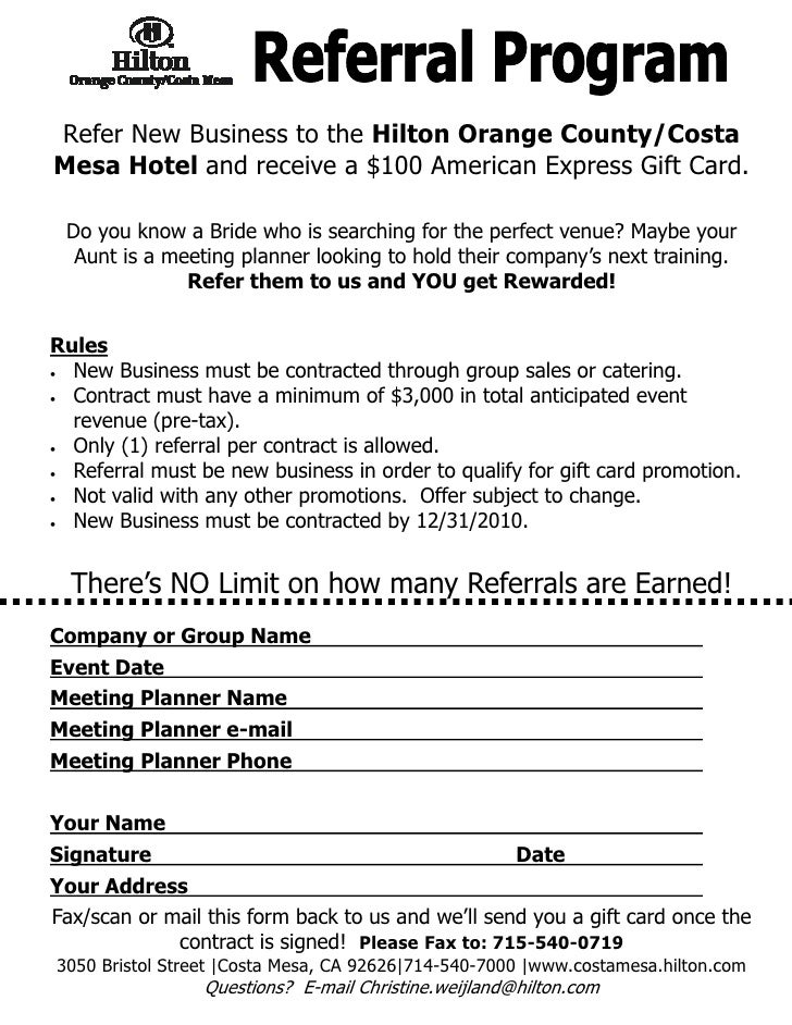 2010 Hotel Lead Referral Program