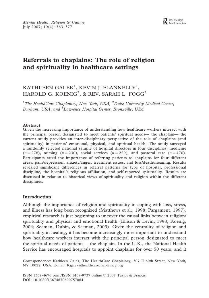 Mental Health, Religion & Culture July 2007; 10(4): 363–377     Referrals to chaplains: The role of religion and spiritual...