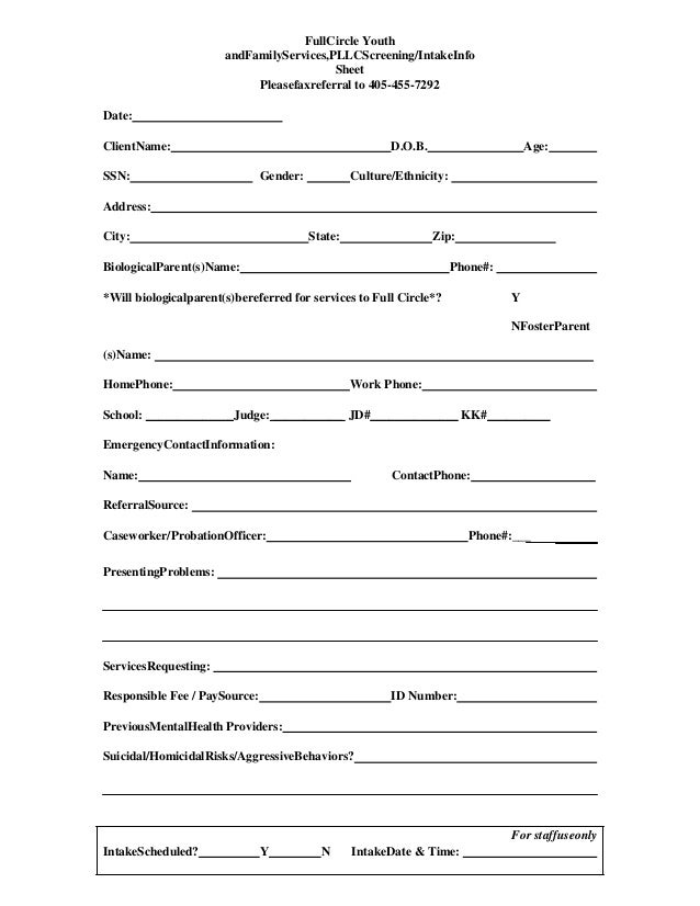 referral screening  intake form