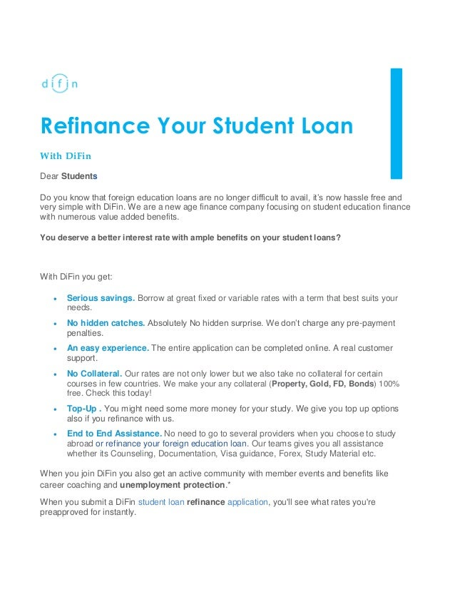 Refinance Student Loans >> Refinance Your Student Loan With Difin