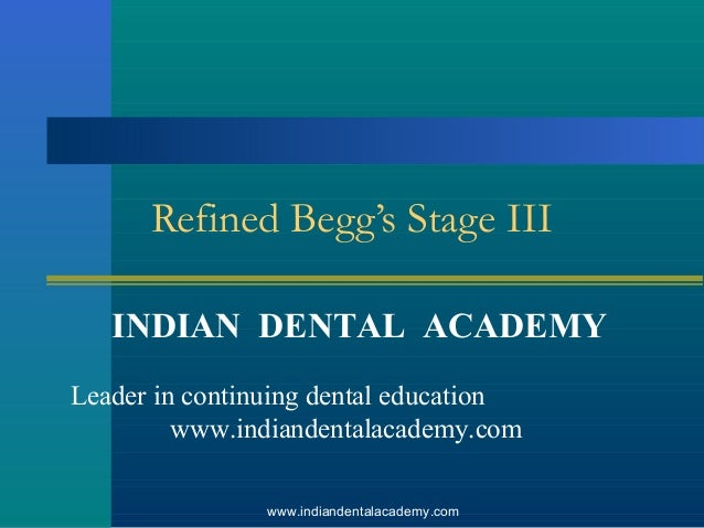 Refined Begg's Stage III INDIAN DENTAL ACADEMY Leader in continuing dental education www.indiandentalacademy.com www.india...