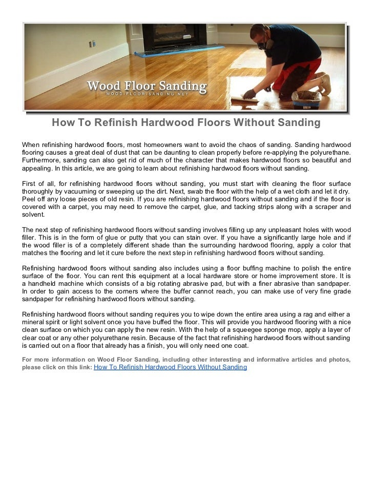 How To Refinish Hardwood Floors Without Sanding