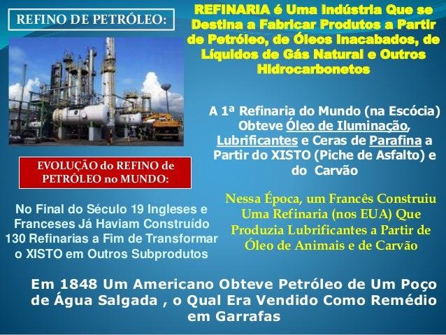 REFINO DE PETRÓLEO: REFINARIA é Uma Indústria Que se Destina a Fabricar Produtos a Partir de Petróleo, de Óleos Inacabados...