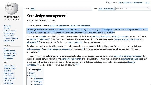 Creating Sharing Using Managing Why: Achieve Organizational Objectives Knowledge & Information
