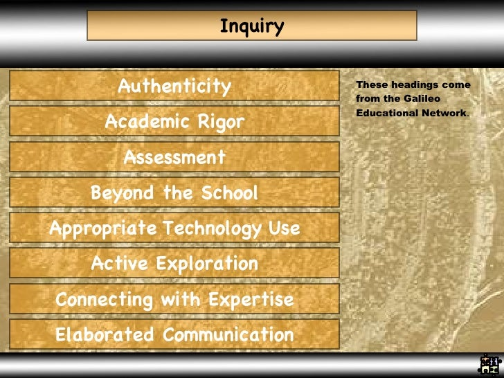 Inquiry Authenticity Academic Rigor Assessment Beyond the School Appropriate   Technology   Use Active Exploration Connect...