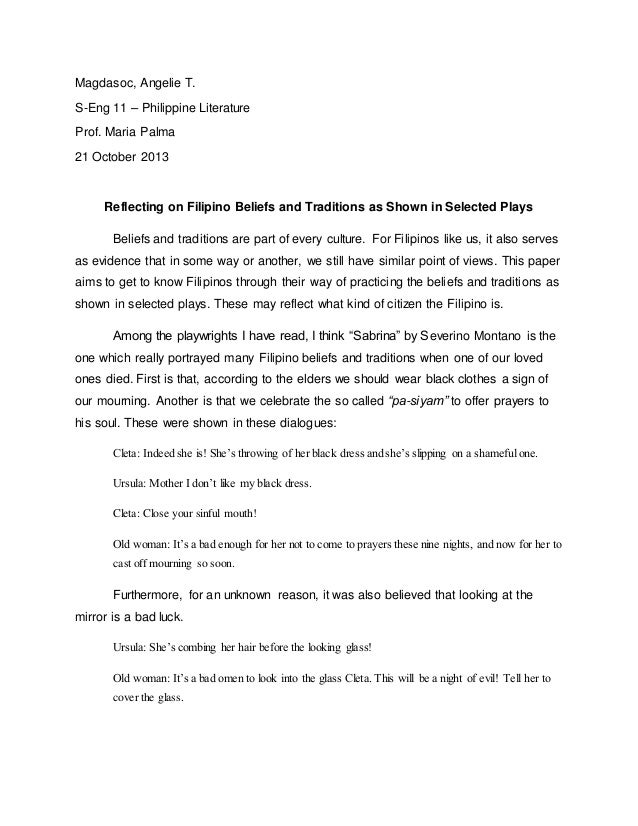 reflection paper sample tagalog