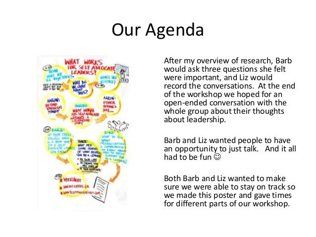 Our Agenda After my overview of research, Barb would ask three questions she felt were important, and Liz would record the...