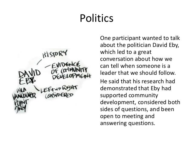 Politics One participant wanted to talk about the politician David Eby, which led to a great conversation about how we can...