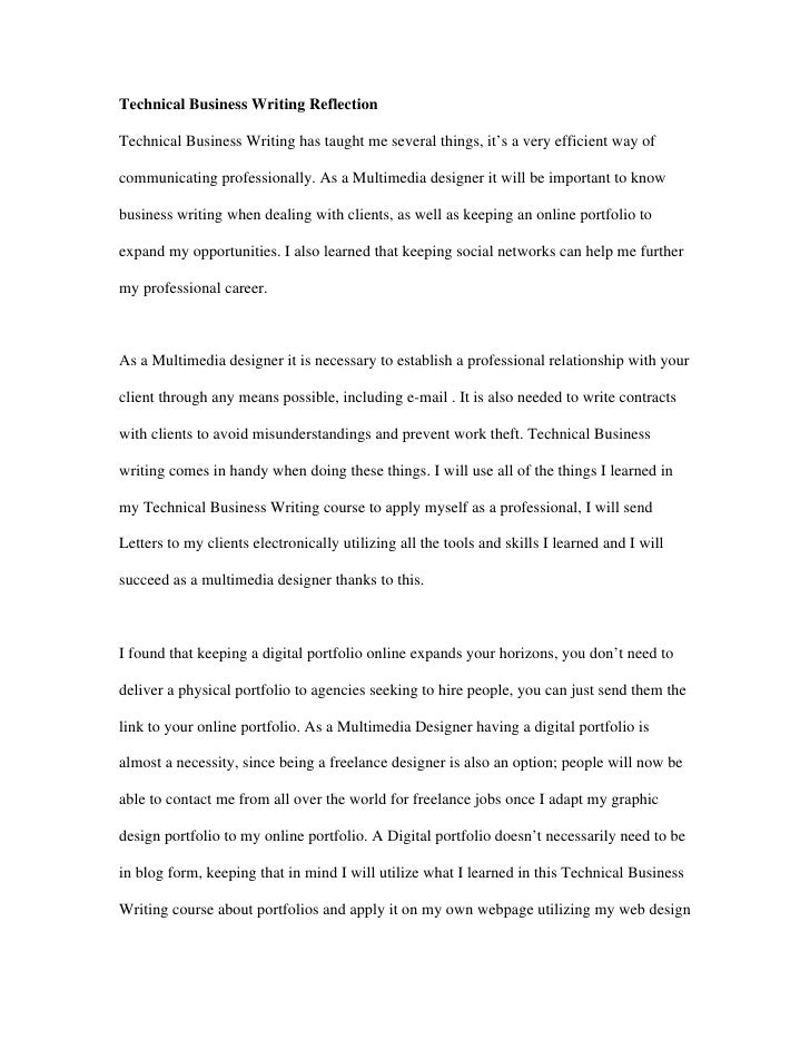 reflective essay business