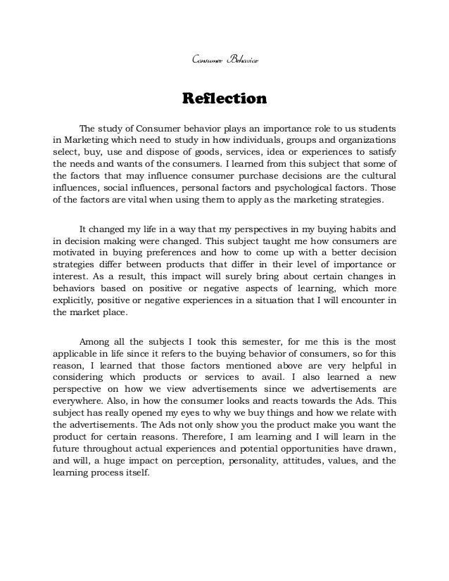 individual personal reflection paper on the self in psychology 400 Final reflection paper by monterjo  orientation to psychology december 12, 2012 final reflection  personal development and goal 10:.