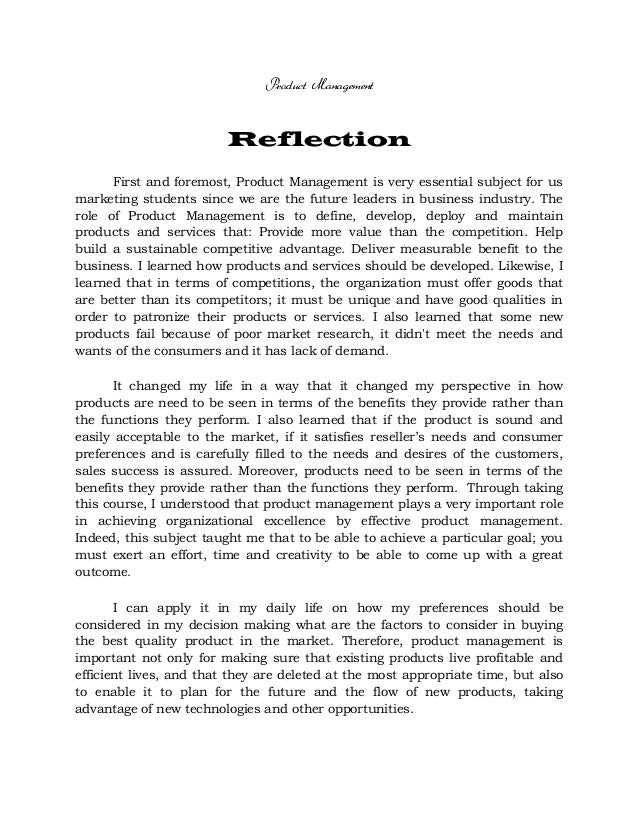 example of reflection essay
