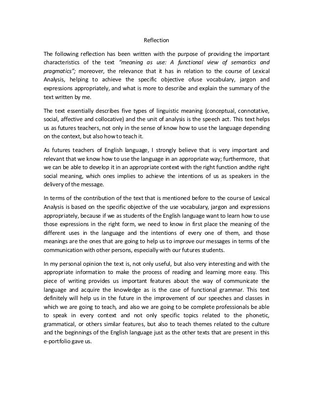 ReflectionThe following reflection has been written with the purpose of providing the importantcharacteristics of the text...