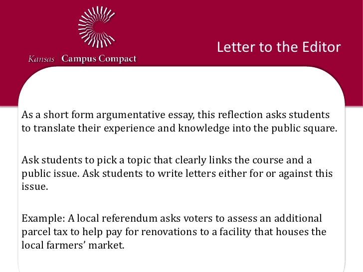 Example Of A Letter To The Editor For Students