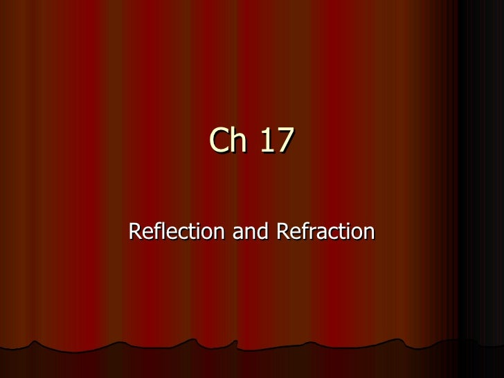 Ch 17Reflection and Refraction