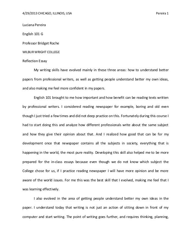 4292013 chicago illinois usa pereira 1 luciana pereira english 101 - English Reflective Essay Example