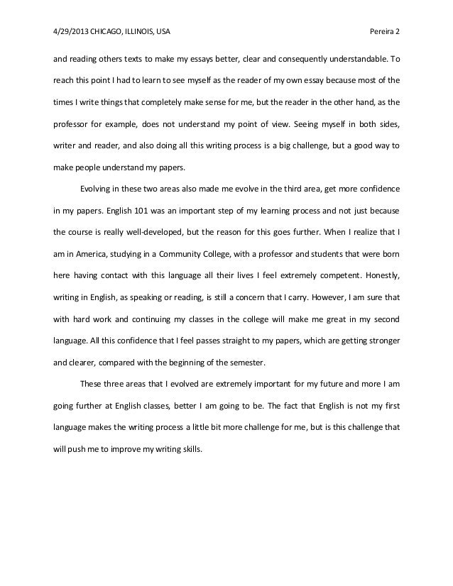 reflection essay final draft luciana medina - English Reflective Essay Example