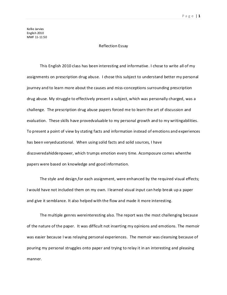 reflections on writing essay - Examples Of Self Reflection Essay