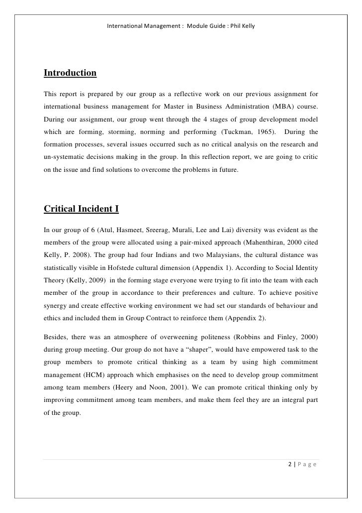 reflection of group work essay