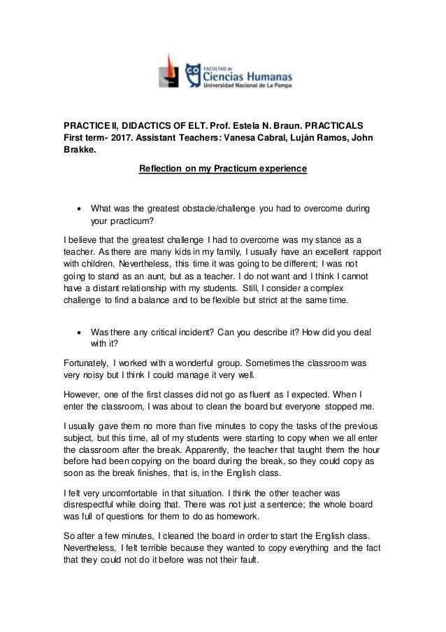 practicum experience examples