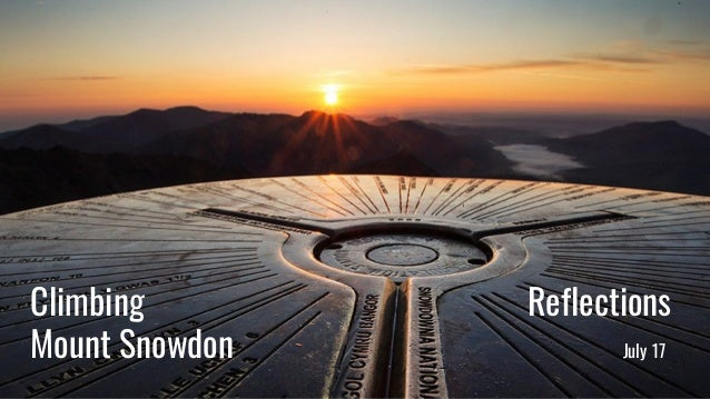 Mission statement: Your company's mission goes here Climbing Reflections Mount Snowdon July 17