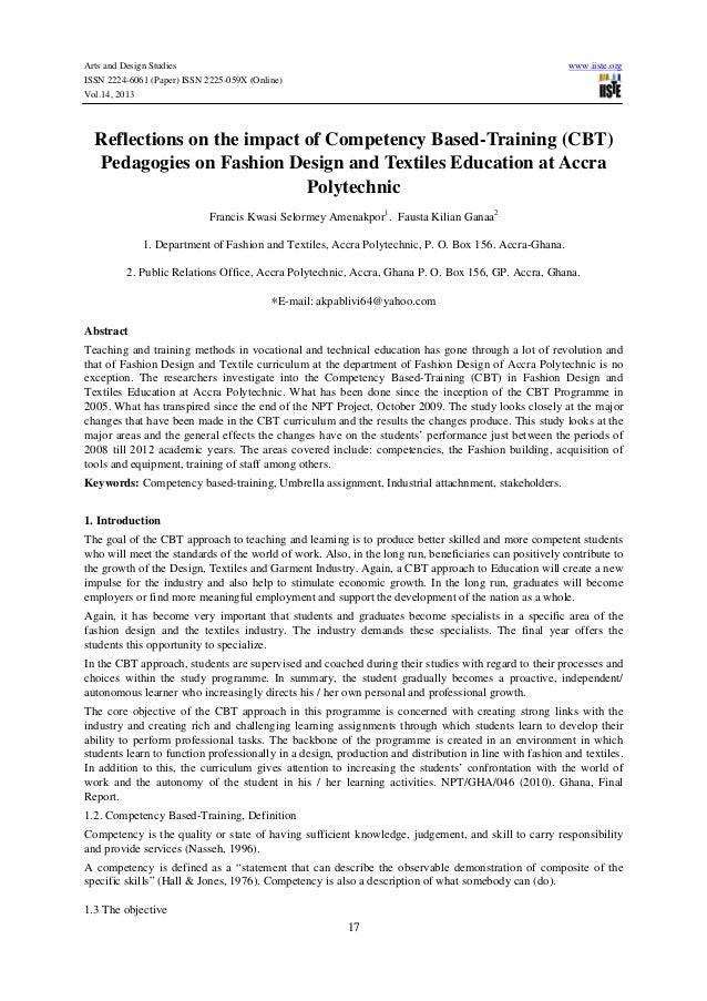 Arts and Design Studies ISSN 2224-6061 (Paper) ISSN 2225-059X (Online) Vol.14, 2013  www.iiste.org  Reflections on the imp...