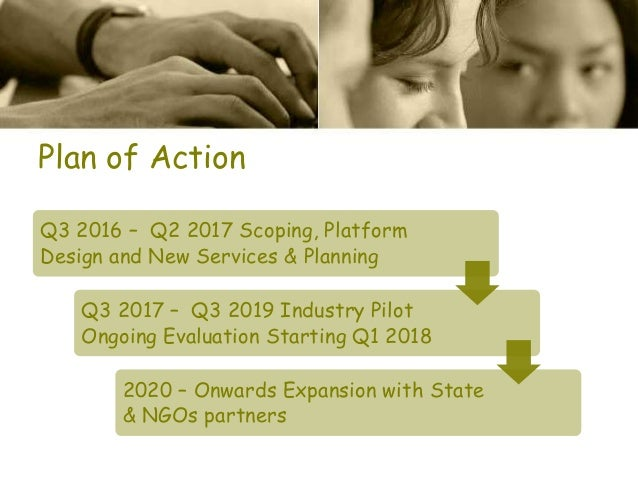 Plan of Action Q3 2016 – Q2 2017 Scoping, Platform Design and New Services & Planning Q3 2017 – Q3 2019 Industry Pilot Ong...