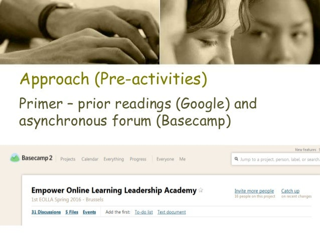 Approach (Pre-activities) Primer – prior readings (Google) and asynchronous forum (Basecamp)