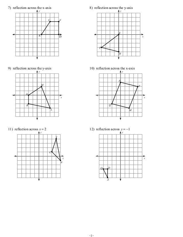 Printables Reflections Worksheet Geometry free geometry reflection worksheets coordinate math plane matrix iii